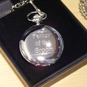 Father of the Groom Pocket Watch Silver Finish Personalised Wedding Gift